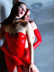 Emily Marilyn & Minx Addiction in skin tight red latex
