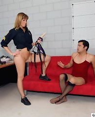 Female guard sexually dominates a guy