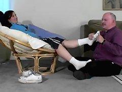 White socks foot massage