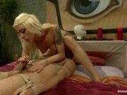 Pussyboy with a bad attitude receive humiliated and a-hole fucked by hawt blond dominatrix.