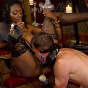 Divine Bitches - Pretty ebony pinches slave's dick