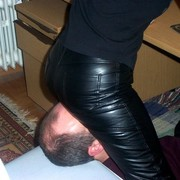Facesitting in leather trousers