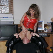 Sexy battle-axe smothering older ladies' | Sexy big-boosted battle-axe gets pussy licked wide of older ladies' then smothers him sitting on his face