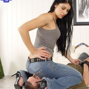 Jeans facesitting with great mistress