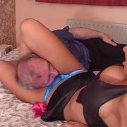 Blonde bitch sits of daddy`s face