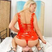 Hot facesitting in red latex dress