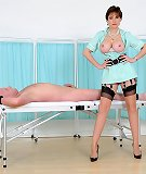Busty dominant nurse gives handjob