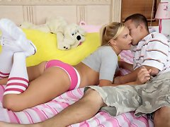 A blonde girlfriend likes to jerk cock