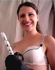 Mistress Lena and her silver dildo