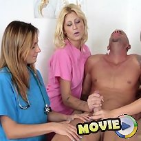 Three excited nurses jerked off a male patient