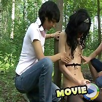 Slut got humiliated in the wood