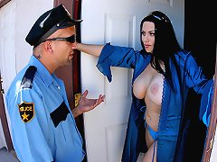 Busty Mom seduces cop by playing with his big hard dick