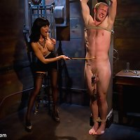 Crazy couple likes BDSM with dick pinching and dildo fuck