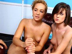 Two chicks gives handjob