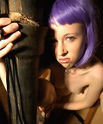 Purplehaired rave chick restrained in basement