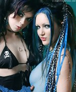 Two goth hotties strip get dirty with bondage