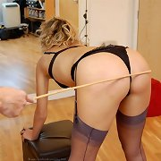 Sexy blonde chick gets caned