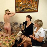 Domestic caning of blonde babe