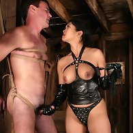 Asian mistress torment and fuck male slave