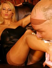 slave worships Natalie\'s nylon stockinged feet