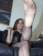 Submissive male worshipped mistress` feet and got fucked by strapon