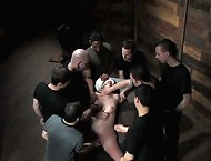 Devaun tied up and fucked by a gang of strangers