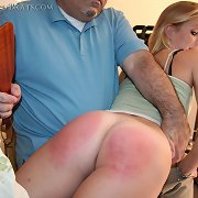Husband spanked blonde wife