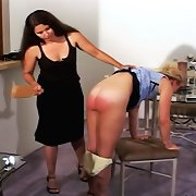 Blonde chick gets spanked and pad..