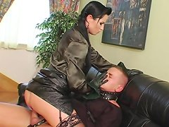 Slave humiliated and forced to fuck