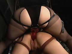 Blond tied and strapon fucked