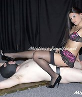 Mistress trampled and smothered slaveboy