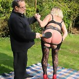 The master punished mature slut outdoor