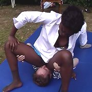 Interracial facesitting and wrestling