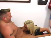 A naked guy sucked off and jizzing on a clothed blonde