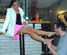 Barefoot trampling and punishement in the bar
