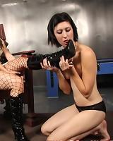 A slavegirl worshipped boots