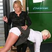 Teacher spanked blonde schoolgirl otk