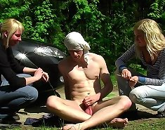 Girls tied and humiliated and handjobbed boy in the wood