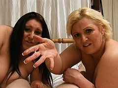 Two hot BBW girls give a degrading femdom handjob