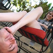 Wife trampling husband outdoor