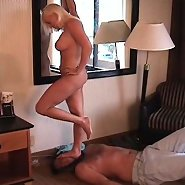 Trampling both barefoot and shod as Mistress shows her slave who's boss