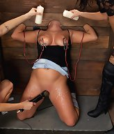 Busty blonde is dominated by two sadistic brunettes with a vengeance!