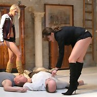 Two mistresses trampled bad boys