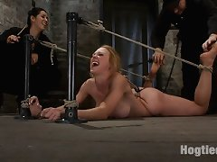 Big ass, large titted, beauty is rope bound, gazoo hooked, and made to cum over and over