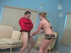 Wicked vixen Hayden slaps around her helpless straitjacket slave