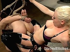 Hot blonde dominatrix tortures slave\'s cock with painful CBT clamps, stress position ass fucking, and using his cock for her own pussy\'s pleasure.