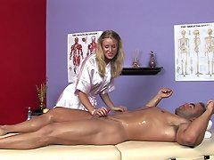 Allison gets Paul oiled up for the bi..