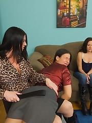 OTK spanking of a brunette schoolgirl