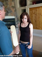 Kayla Apple gets 12 hard licks with the board for bullying girls