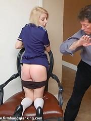 Exotic senior Monica Bouget spanked, panties down